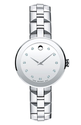 Movado 'Sapphire' Diamond Index Bracelet Watch 28Mm Silver