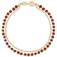 Dower And Hall 18Ct Gold Vermeil Beaded Friendship Bracelet Gold Garnet
