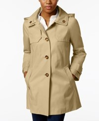 London Fog Hooded A Line Double Collar Raincoat Toffee