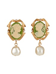 Dolce And Gabbana Pearl Embellished Cameo Clip On Earrings