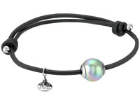 Majorica Adjustable Black Leather White Pearl Bracelet Grey Bracelet Gray