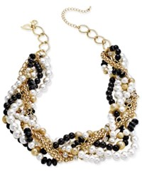 Thalia Sodi Gold Tone Red And Jet Chain Link Statement Necklace Only At Macy's Blk Wht