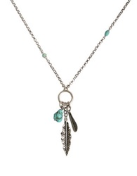 Lucky Brand Feather Charm Necklace Blue Silver