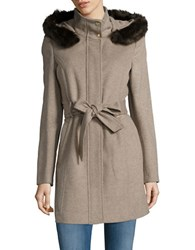 Ellen Tracy Faux Fur Trim Wool Blend Car Coat Heather Latte