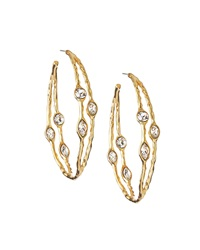 Kenneth Jay Lane Hoop Earrings W Rhinestones Golden