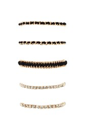 Forever 21 Wrapped Chain Bracelet Set Black Gold