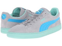 Puma Suede Classic Lfs Limestone Gray Atomic Blue Holiday Men's Lace Up Casual Shoes