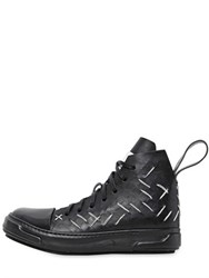 Artselab Stitch And Slit Leather High Top Sneakers