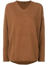 Aspesi V Neck Loose Knit Sweater Brown