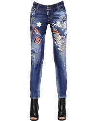 Dsquared Patches Embellished Stretch Denim Jeans