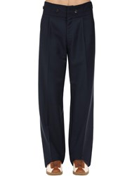 Lanvin High Waist Loose Wool And Mohair Pants Navy