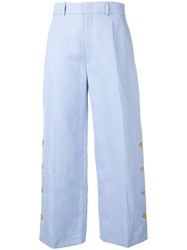 Joseph Cropped Wide Leg Trousers Blue