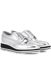 Prada Wingtip Leather Platform Brogues Silver