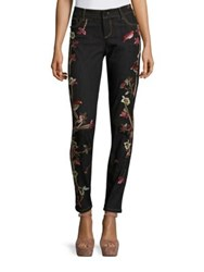 Alice Olivia Jane Embroidered Skinny Jeans Washed Black Multi