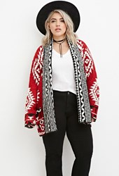Forever 21 Plus Size Geo Patterned Open Front Cardigan Red Cream