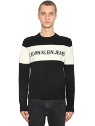 Calvin Klein Jeans Color Block Wool Knit Sweater Black