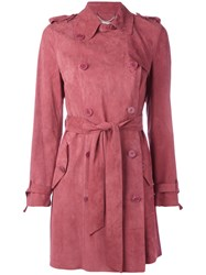 Desa Collection Double Breasted Belted Coat Pink Purple