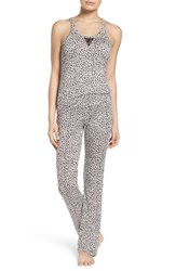 Betsey Johnson Women's Mesh Inset Pajamas Mini Leopard