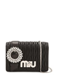 Miu Miu Med My Buckle Quilted Leather Bag Black