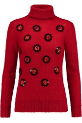 Matthew Williamson Embellished Mohair Blend Turtleneck Sweater Red