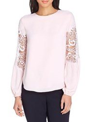 Tahari Lace Inset Georgette Blouse Cameo Pink