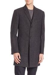 Saks Fifth Avenue Plaid Wool Coat Grey