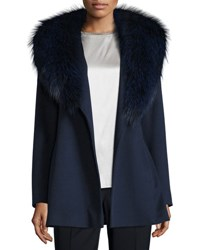 Fleurette Short Wool Wrap Coat W Fox Fur Midnight
