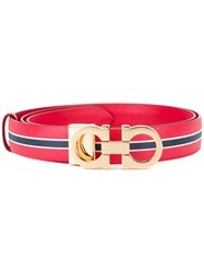 Salvatore Ferragamo Striped Belt Red