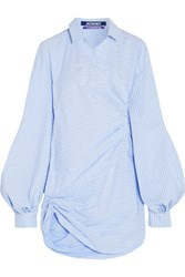 Jacquemus Asymmetric Striped Cotton Poplin Mini Dress Sky Blue