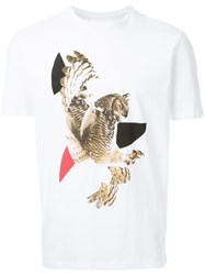 Neil Barrett Modernist Owl Print T Shirt White