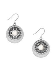 Lucky Brand Silvertone Freshwater Pearl Circle Drop Earrings