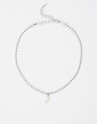 Asos Limited Edition Ball Chain And Faux Pearl Choker Necklace Silver