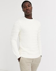 Selected Homme Chunky Cable Knitted Jumper In White