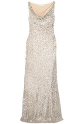 Naeem Khan Draped Sequined Stretch Tulle Gown Silver