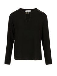 Morgan Sequins Embellished Crepe Blouse Black