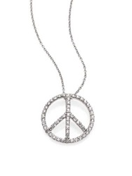 Roberto Coin Tiny Treasures Diamond And 18K White Gold Medium Peace Sign Pendant Necklace