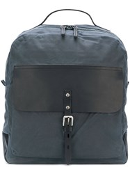 Ally Capellino Zip Top Buckle Backpack Unisex Cotton Leather Blue