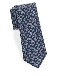 Saks Fifth Avenue Floral Cotton Tie Blue