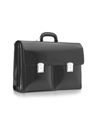 Pineider 1949 Black Calfskin Triple Gusset Briefcase