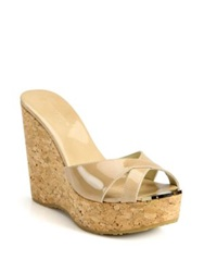 Jimmy Choo Perfume Patent Leather And Cork Wedge Sandals Black Nude
