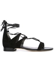 Stuart Weitzman Lace Up Sandals Black