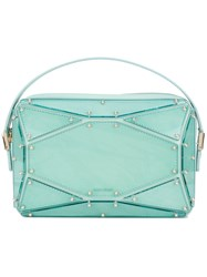 Elie Saab Faceted Clutch Bag Blue