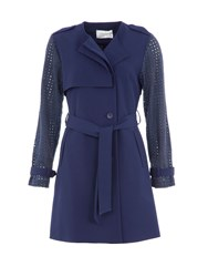 Lavand Trench Coat With Cut Out Detailing Blue