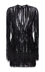 Elie Saab Long Sleeved Embroidered Mini Dress With Fringe Black