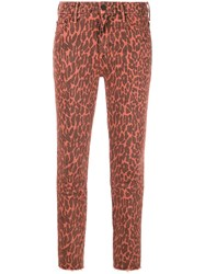 Mother Leopard Print Skinny Jeans Red