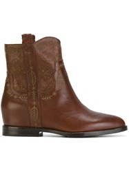 Ash Cowboy Ankle Boots Leather Brown