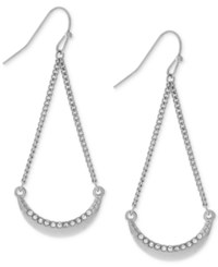 Bcbgeneration Crystal Crescent Swing Drop Earrings Silver