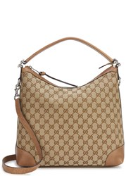 Gucci Miss Gg Small Monogrammed Leather Tote Beige