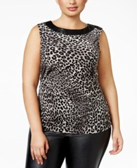 Michael Kors Plus Size Animal Print Top Black
