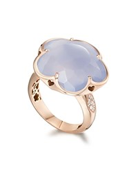 Pasquale Bruni 18K Rose Gold Flower Ring With Chalcedony And Diamonds Blue White